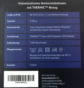 Casimum - Seitenschläferkissen / Nackenstützkissen